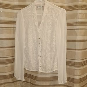 Johnny was white silk blouse shirt